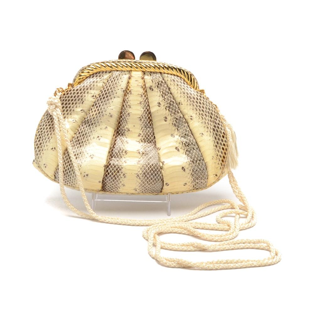 Vintage Judith Leiber White Snakeskin Handbag