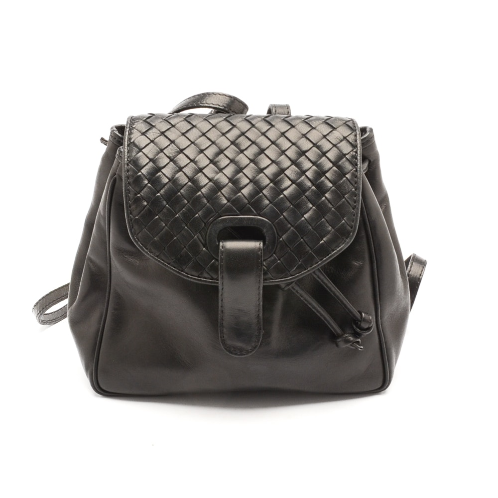 Vintage Bottega Veneta Black Leather Mini Backpack