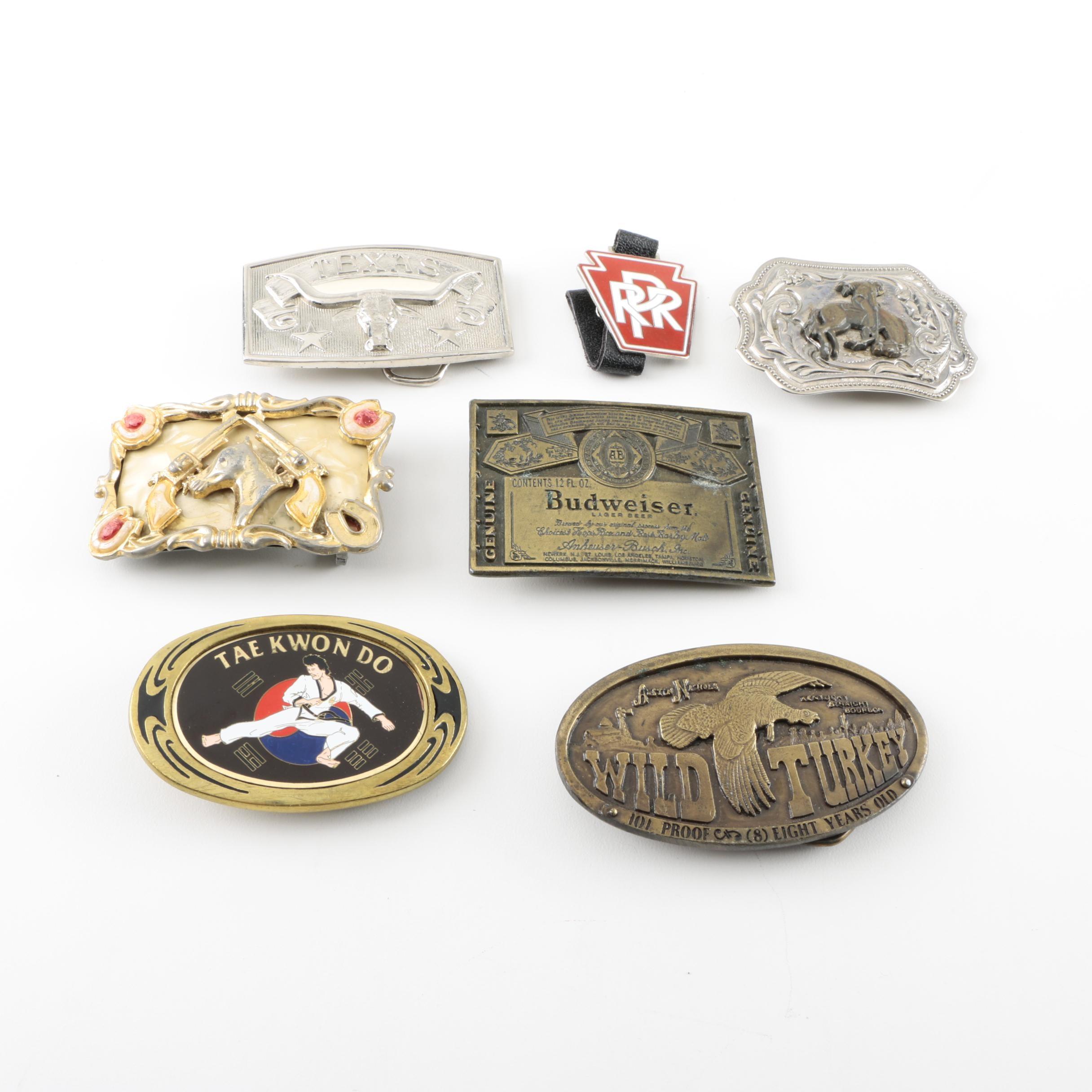 Vintage Brass and Metal Belt Buckles Including Budweiser