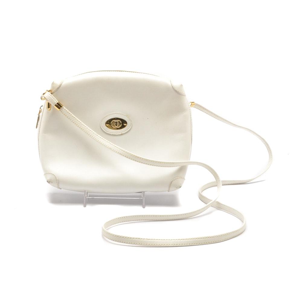 Vintage Gucci White Leather Handbag