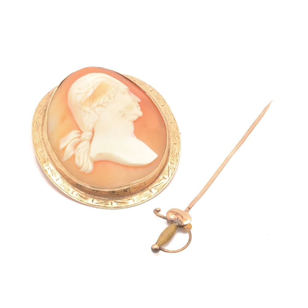 Gold and Helmet Shell Cameo Converter Brooch with a Sword Stick Pin