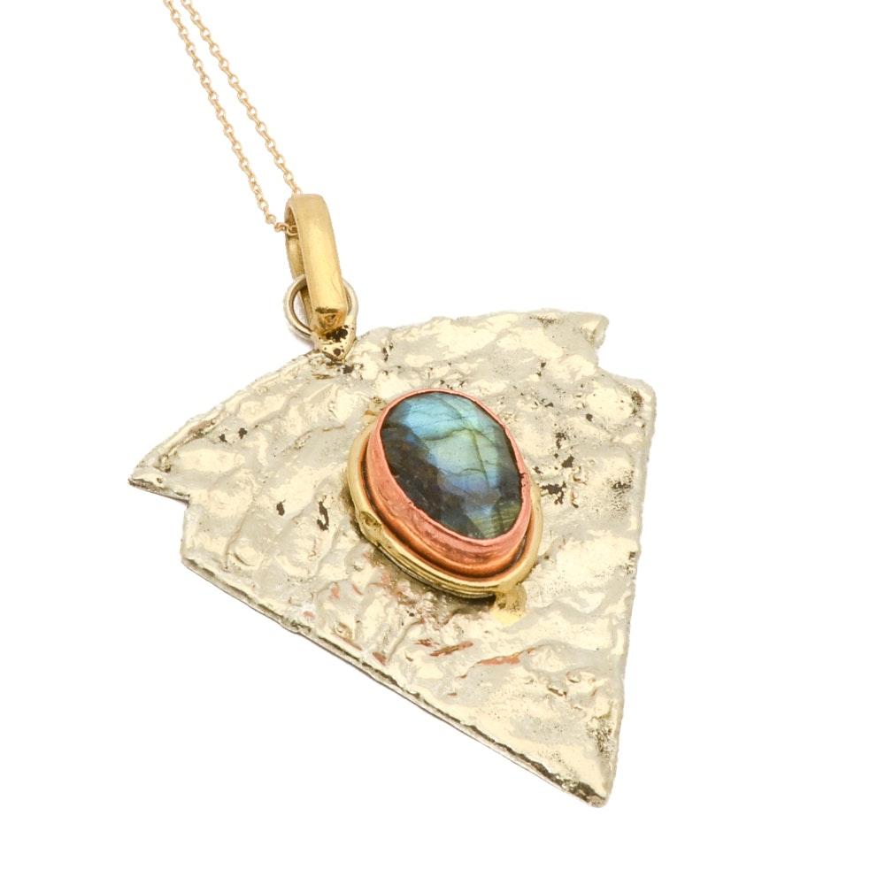 Labradorite Stone Arrow Pendant with Sterling Silver Gold Tone Chain
