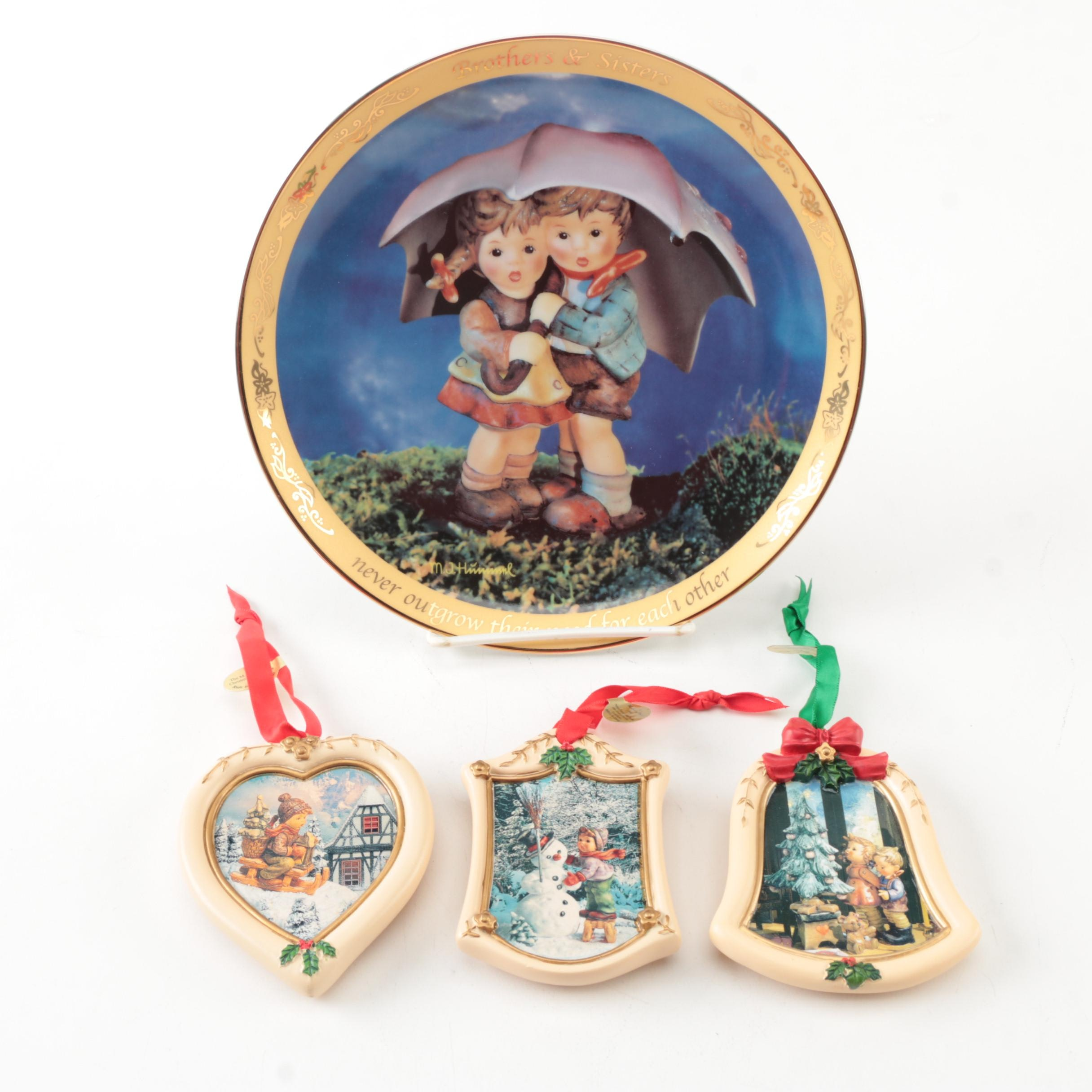 """Hummel """"Brother & Sisters"""" Collectors Plate and Ornaments"""