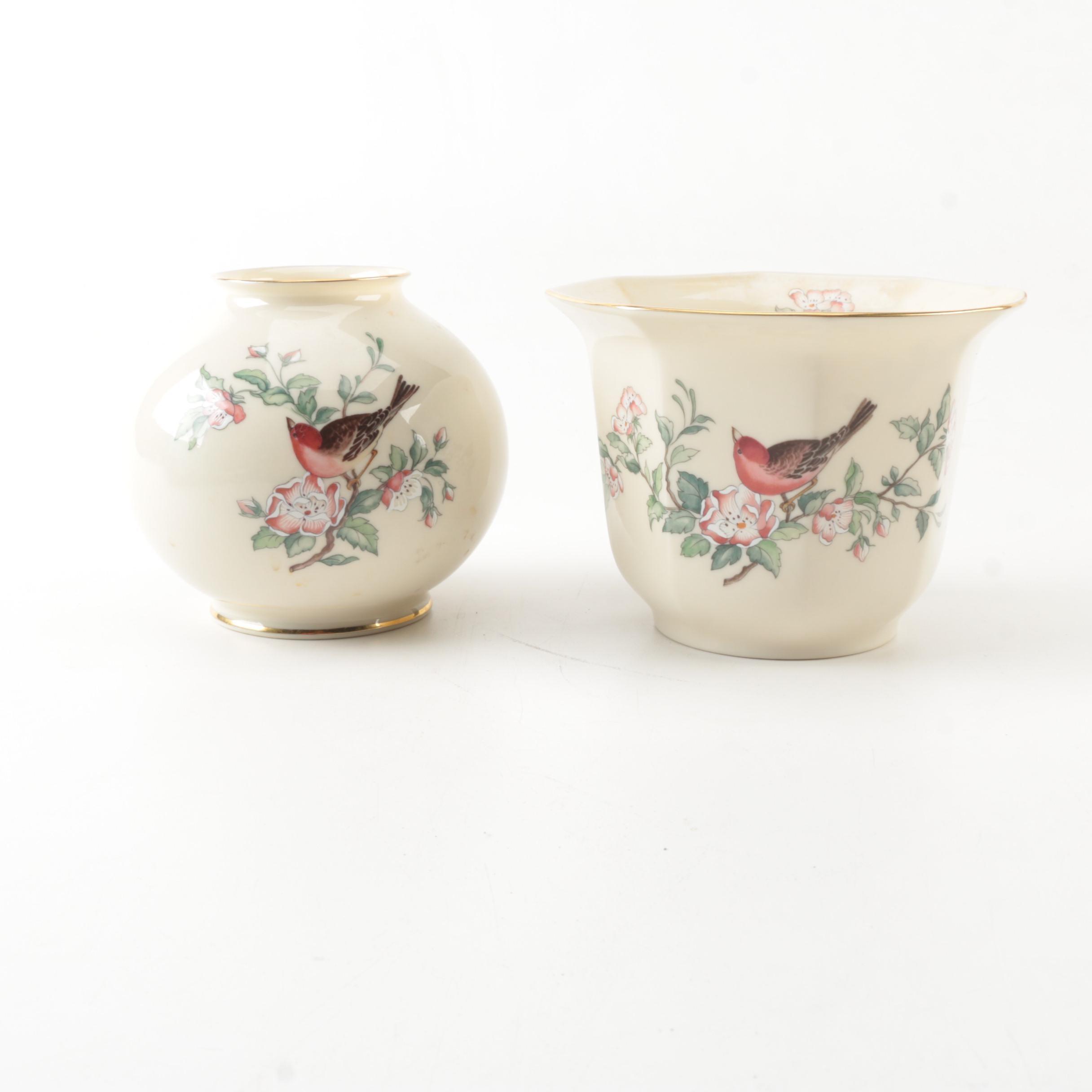 "Lenox Porcelain ""Serenade"" Globe Vase and Planter"