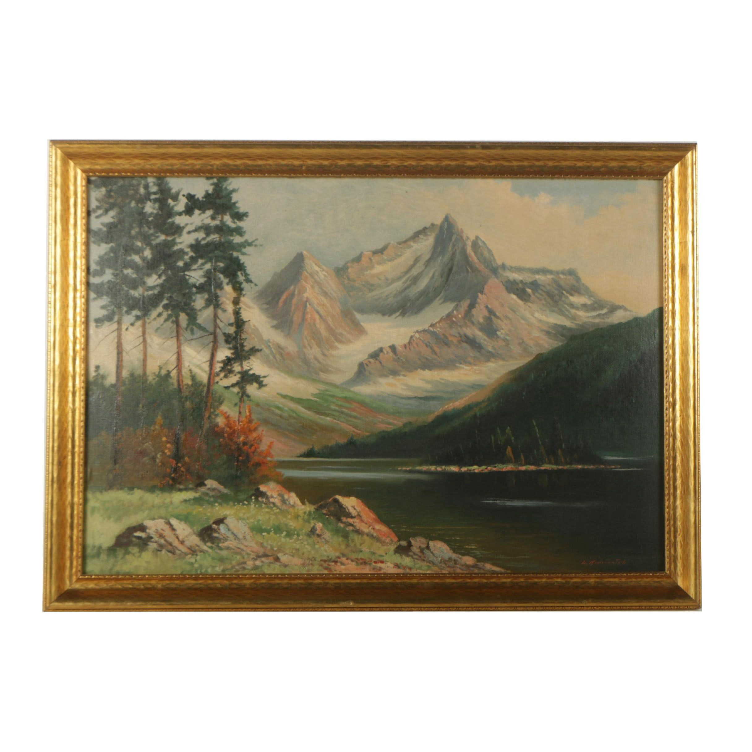 Li. Kudernatgrh Oil Painting on Canvas Mountain Landscape