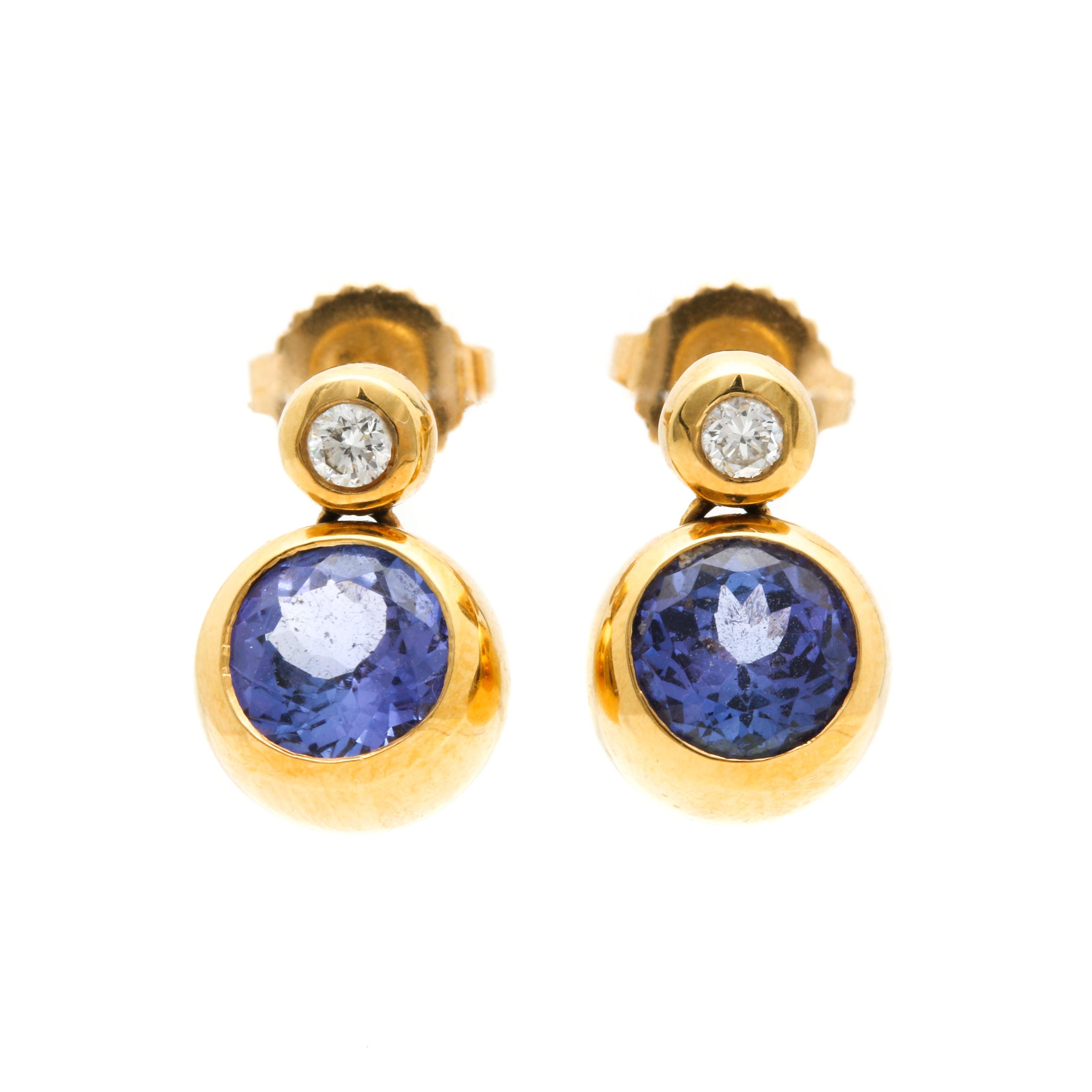 18K Yellow Gold Diamond and Tanzanite Earrings