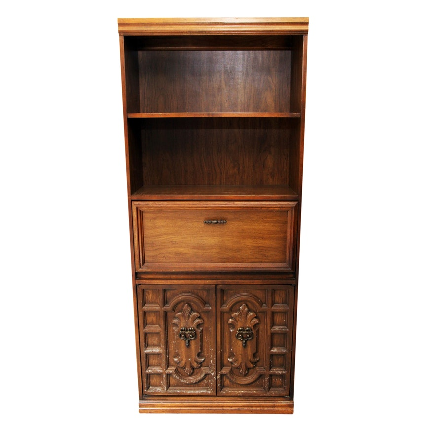 Vintage Bookcase With Fold Down Desk
