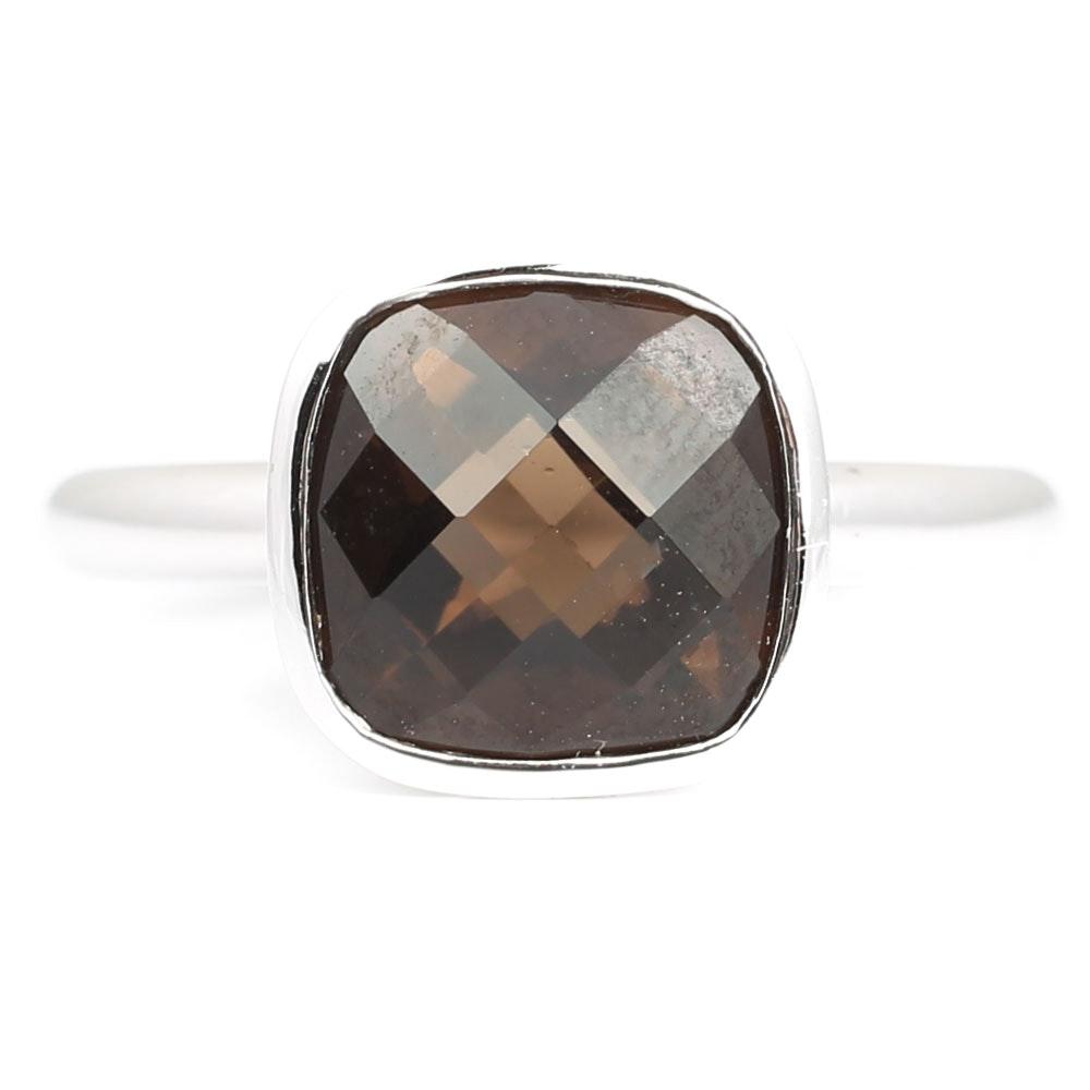 Sterling Silver 3.35 CT Smoky Quartz Ring