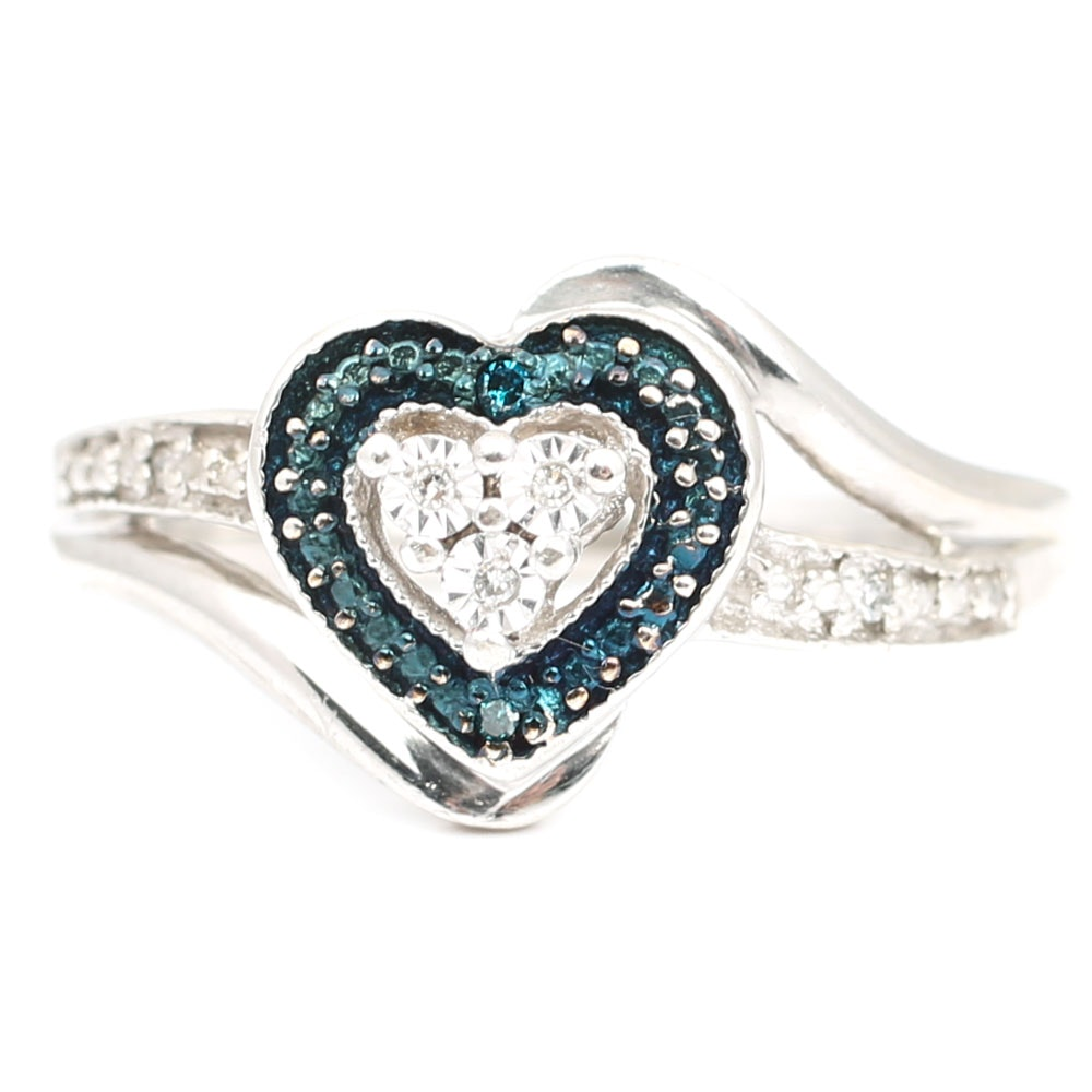 Sterling Silver Diamond and Chrome Diopside Heart Ring