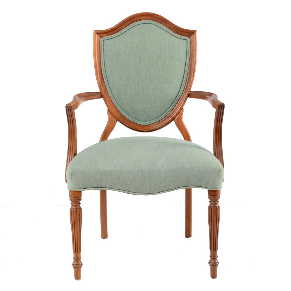 Vintage Green Shield-Back Armchair