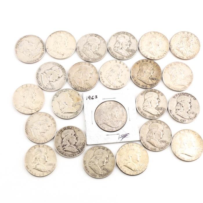 Twenty-Three Franklin Silver Half Dollars