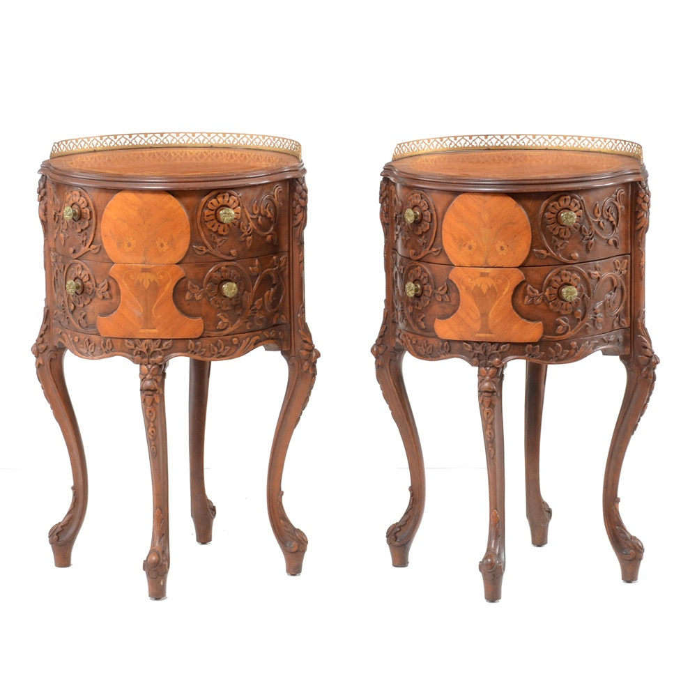 Pair of Inlaid and Carved Drum End Tables