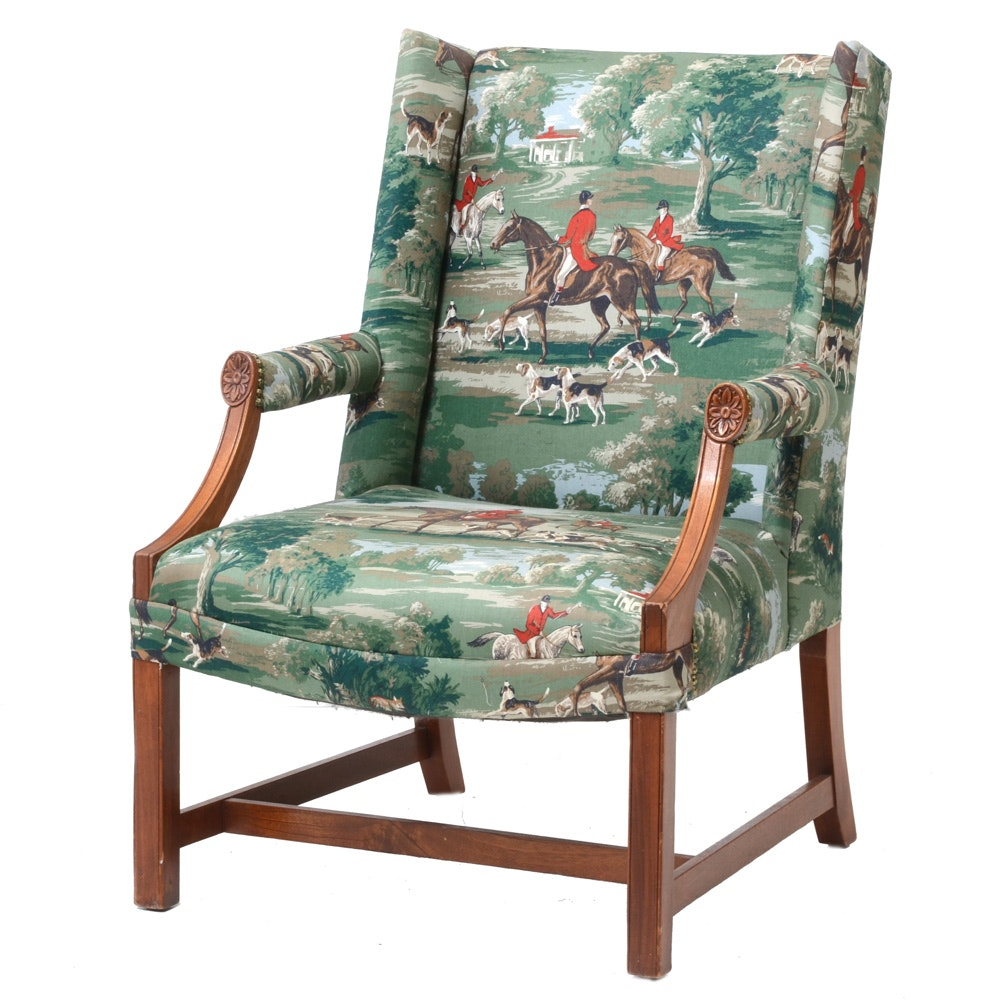 English Style Wingback Chair with Sporting Fabric