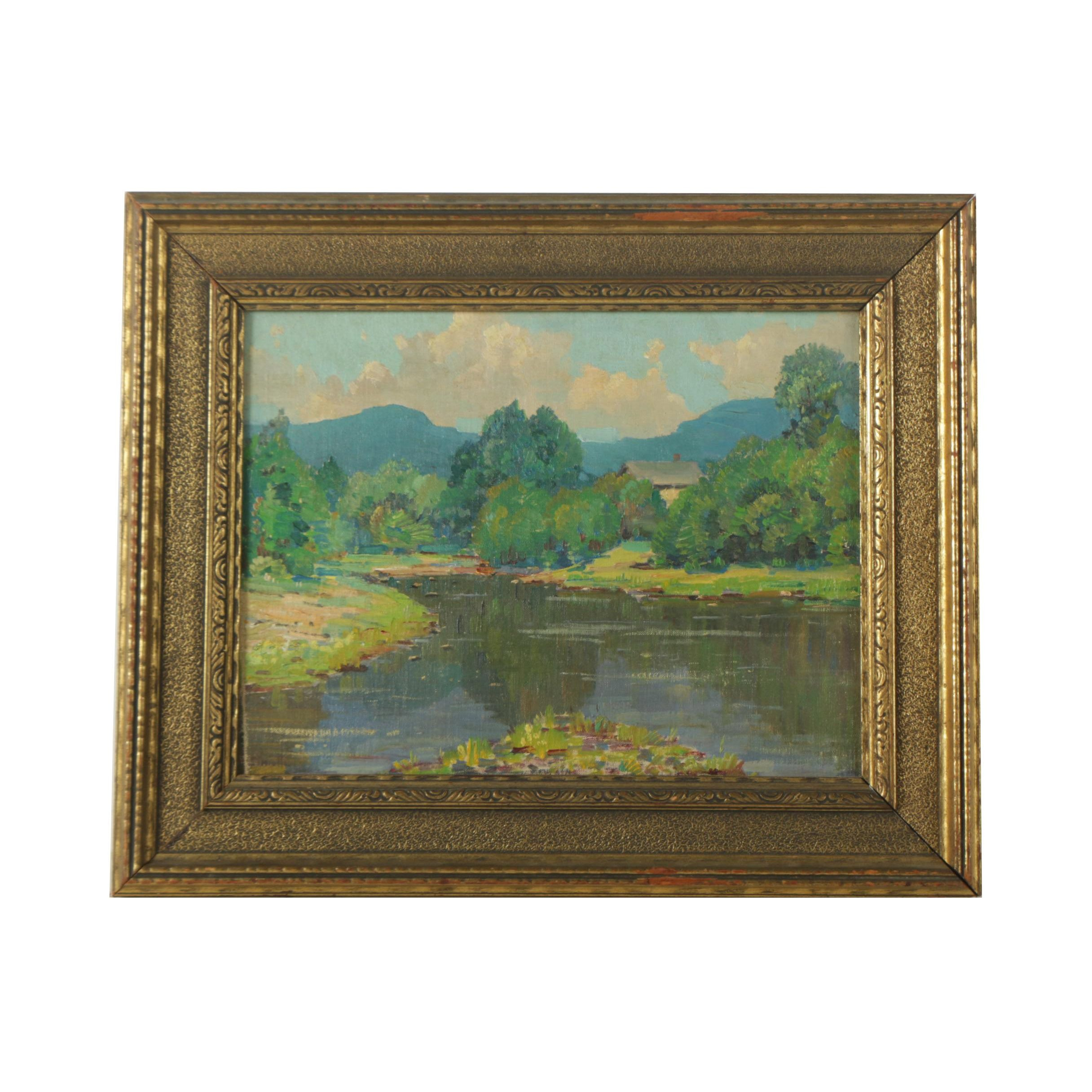 "Gustave Cimiotti Oil Painting on Canvas Board ""The Inlet"""