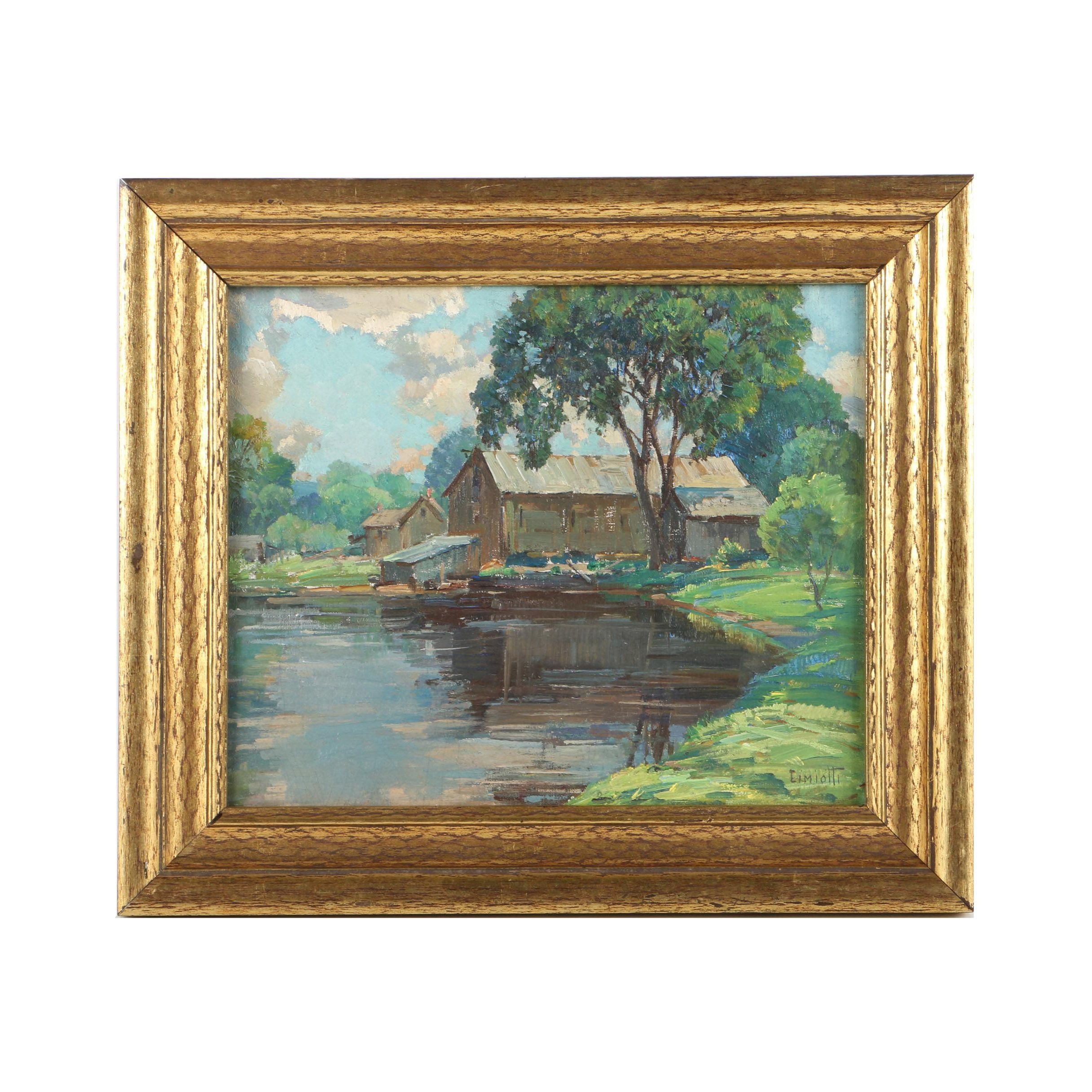 "Gustave Cimiotti Jr.  Oil Painting on Canvas Board ""The Old Mill, Monterey"""