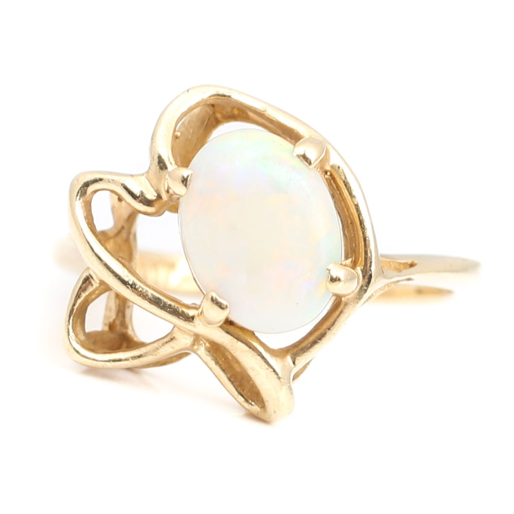 10K Yellow Gold 1.45 CT Opal Ring