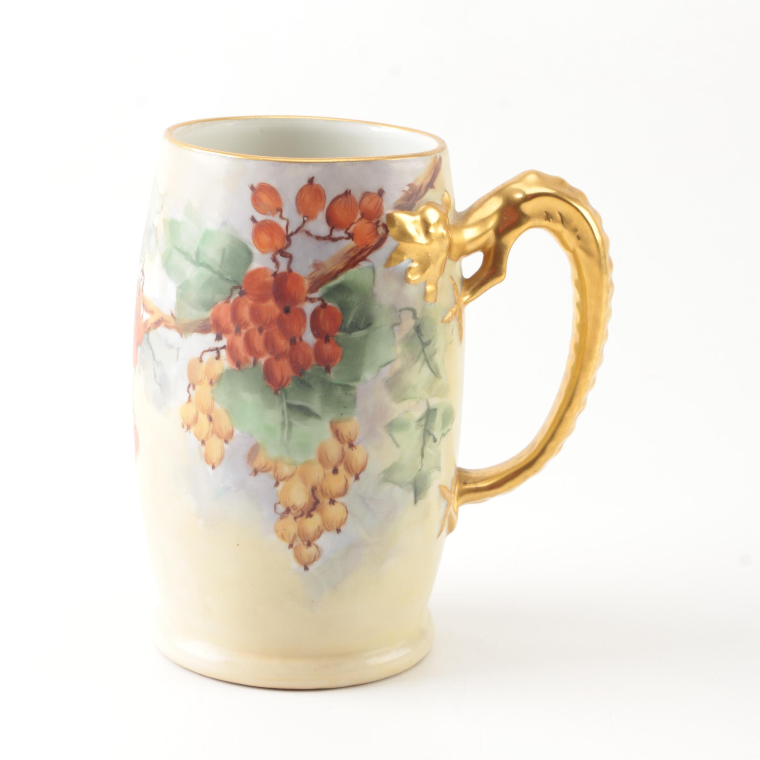 Antique Porcelain Stein with Gilded Dragon Handle