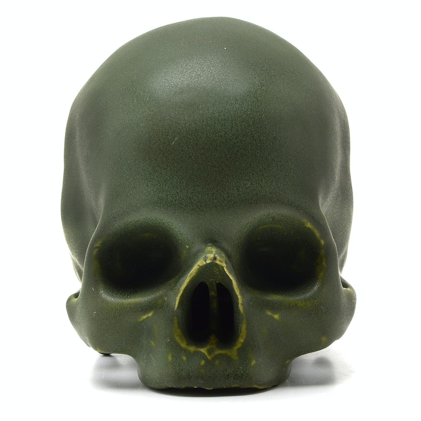 Vintage Memento Mori Glazed Pottery Skull