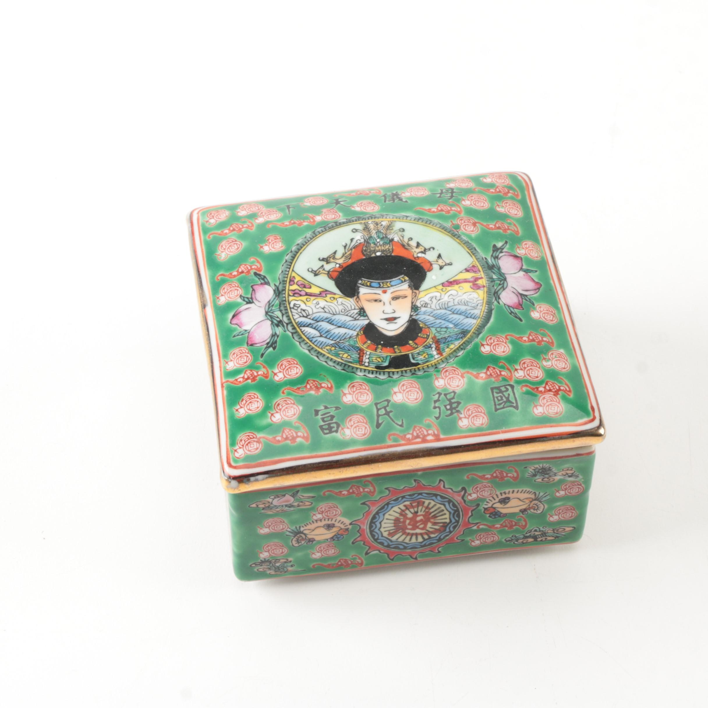 Chinese Ceramic Trinket Box