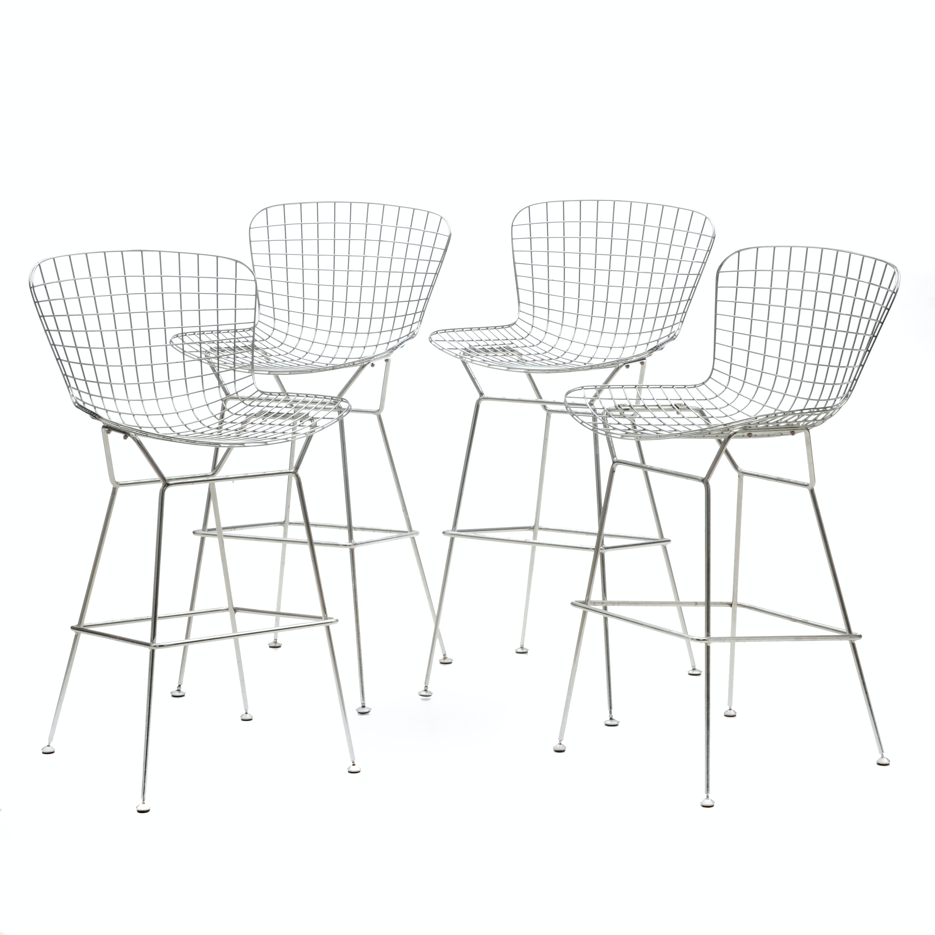 Four Modern Bertoia Style Bar Stools