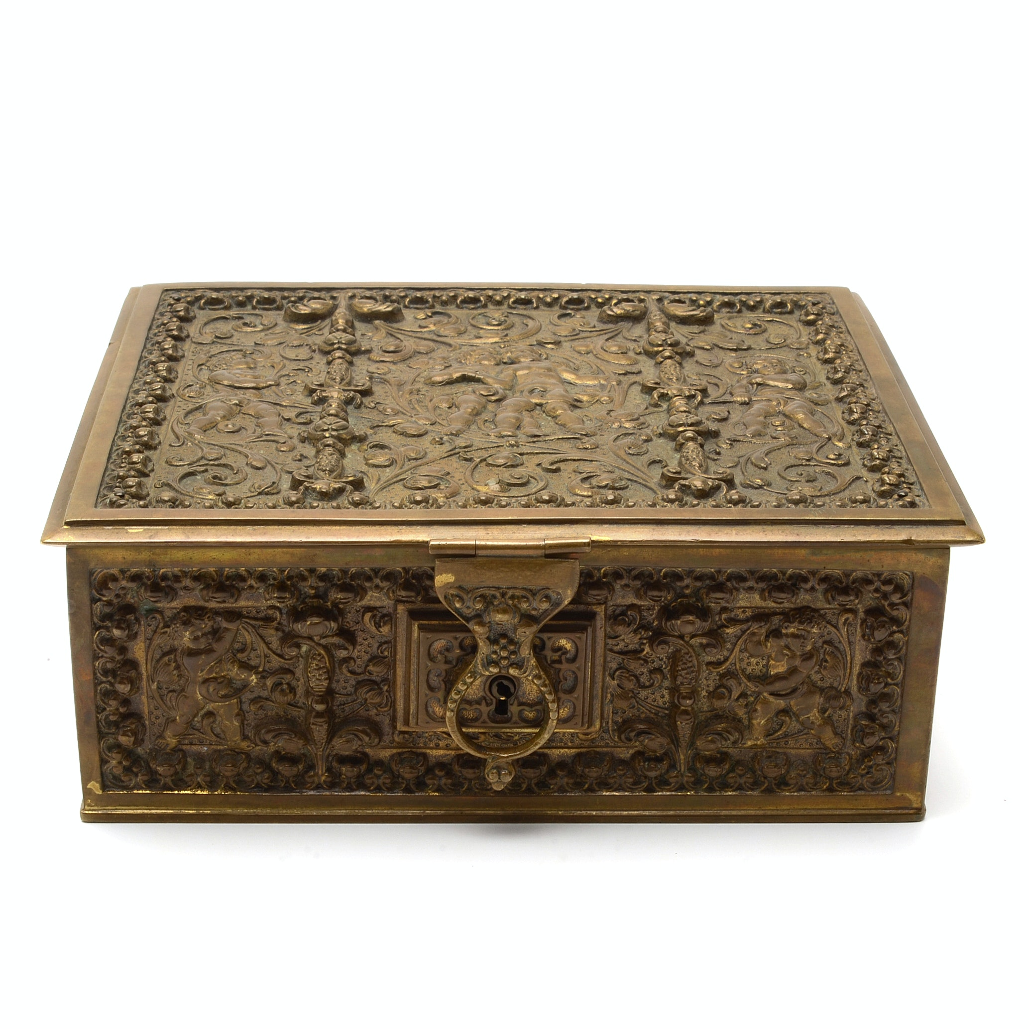 Erhard and Sohne Cast Brass Jewelry Casket