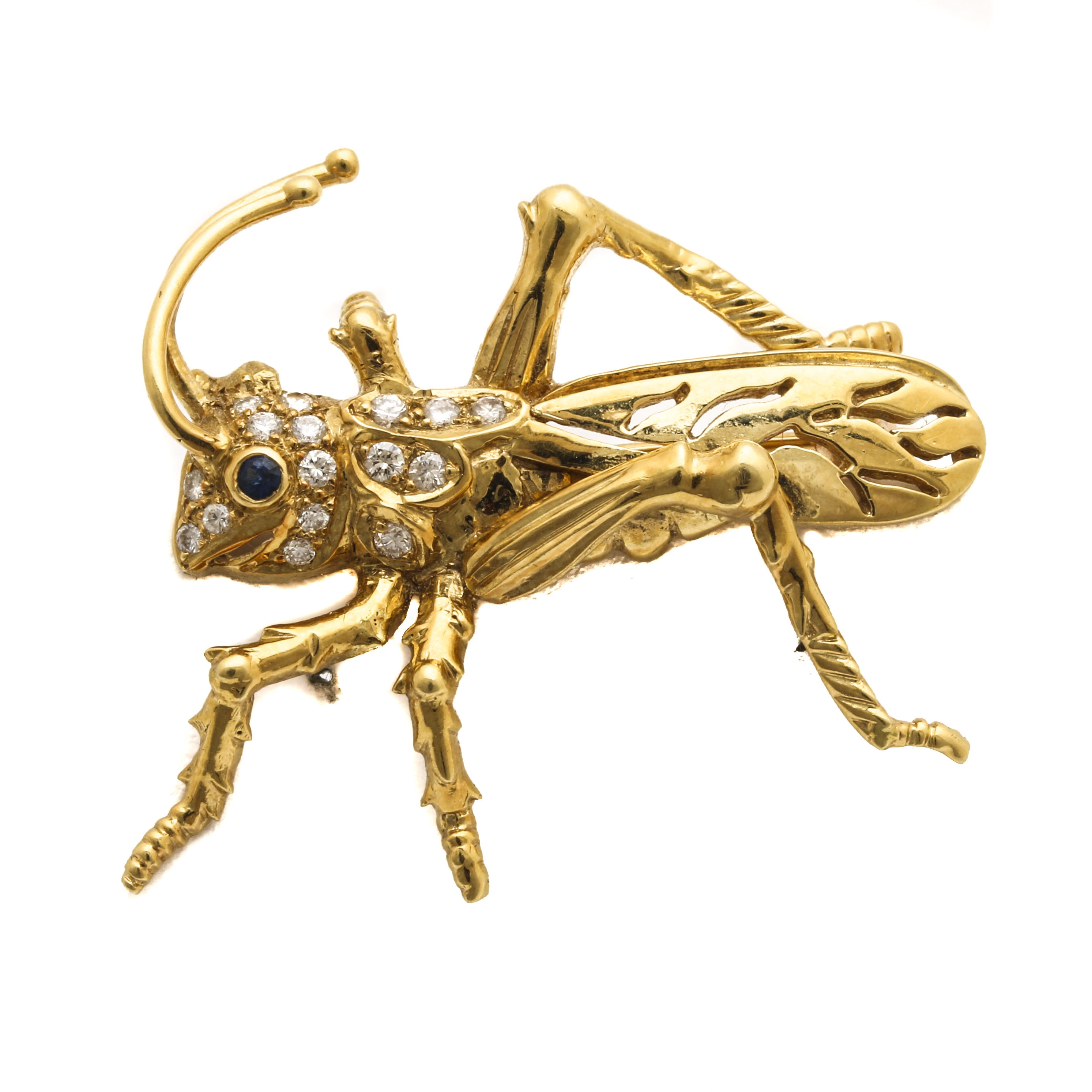 Le Vian 18K Yellow Gold Diamond and Sapphire Grasshopper Brooch