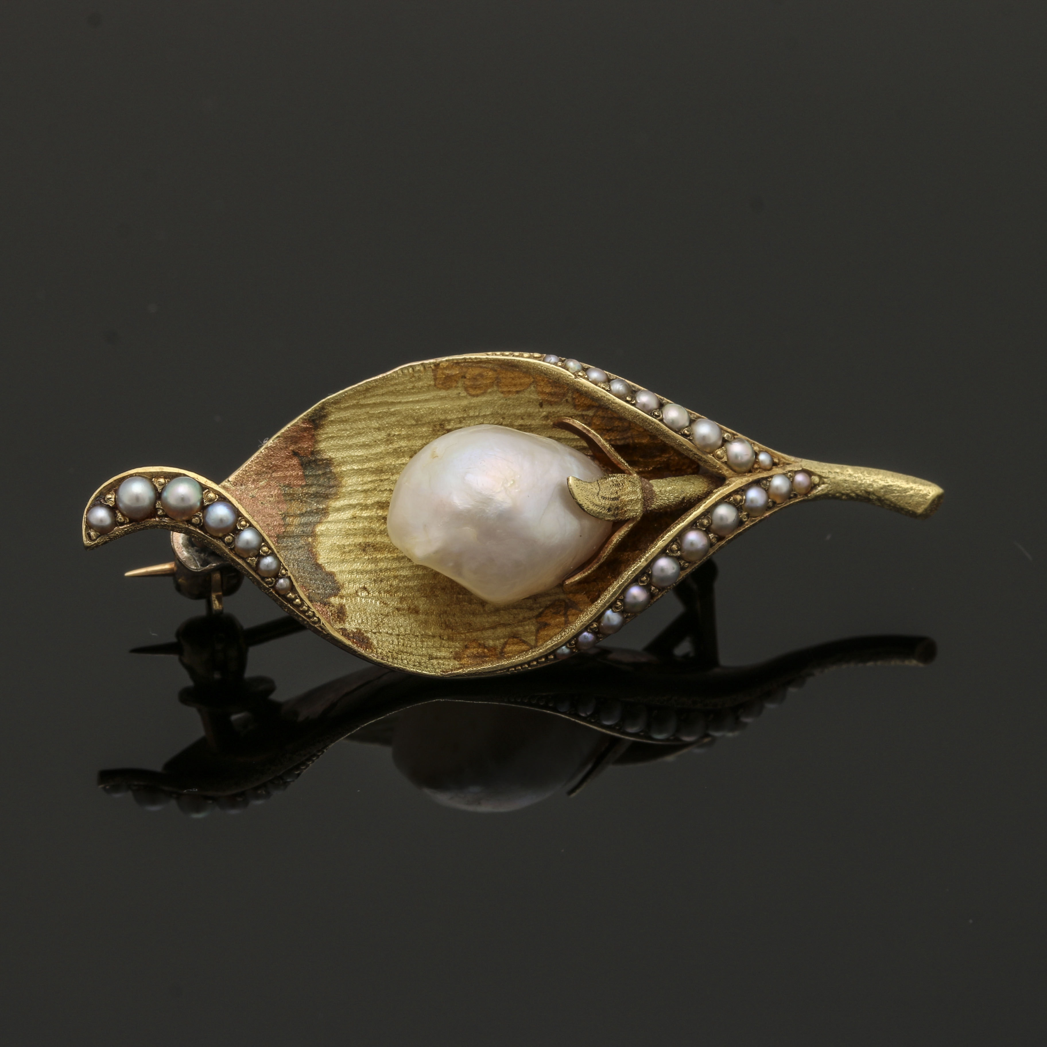 Vintage 14K Yellow Gold Cultured Pearl Floral Converter Brooch
