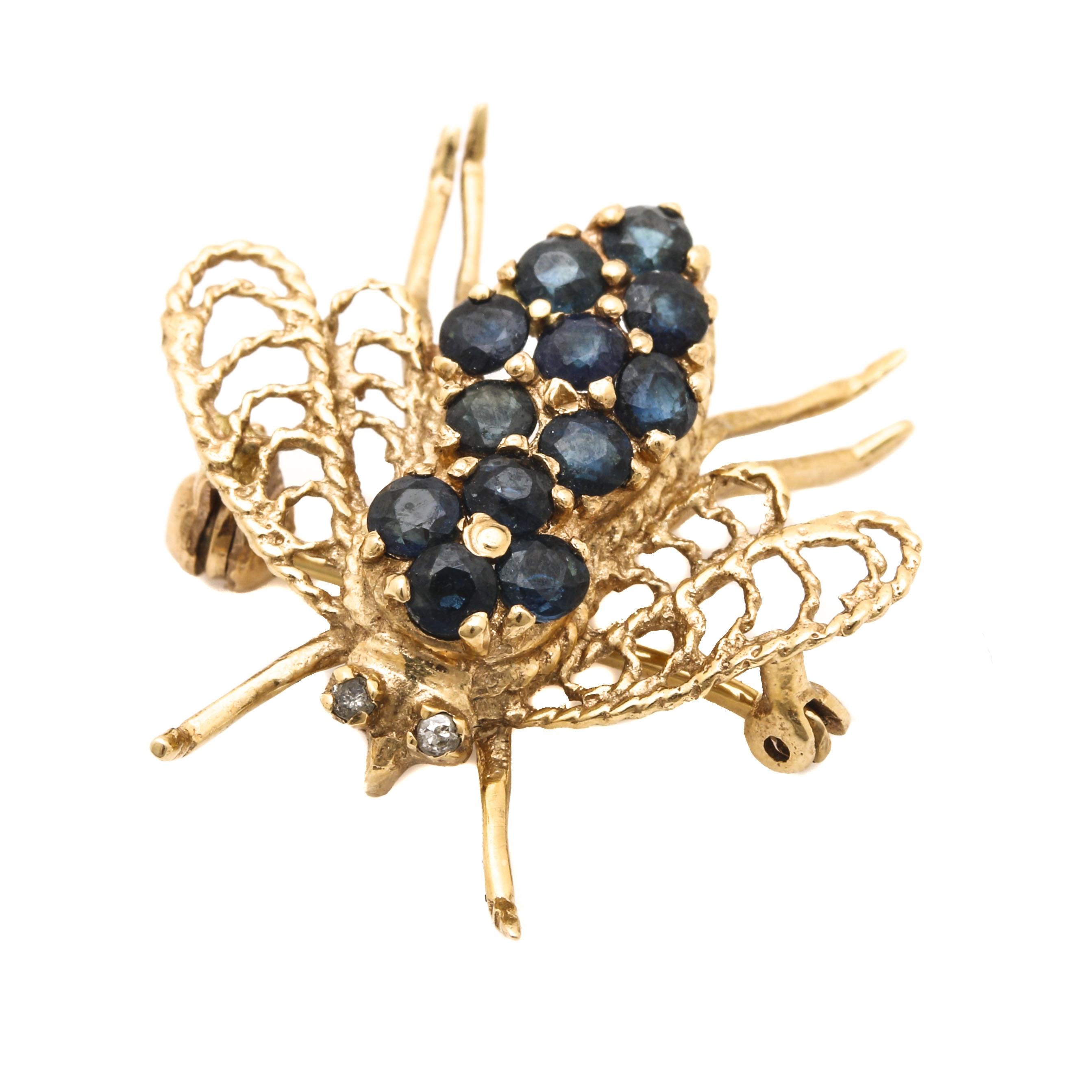 10K Yellow Sapphire and Diamond Bee Brooch
