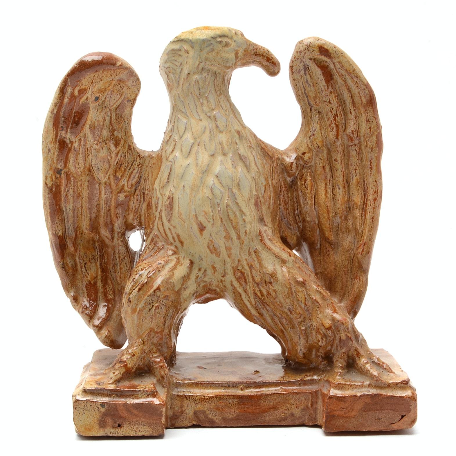 Glazed Ceramic Figure of an Eagle by Artist, Katherine L. Alden