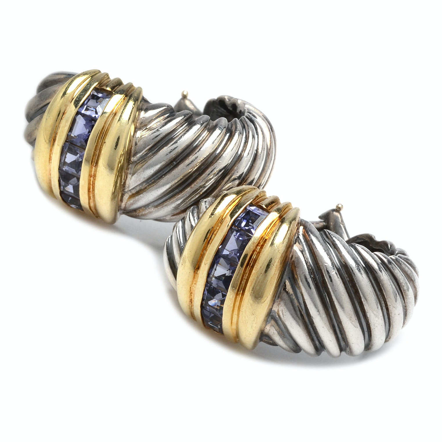 David Yurman Sterling Silver and Iolite Earrings with 14K Gold Accents