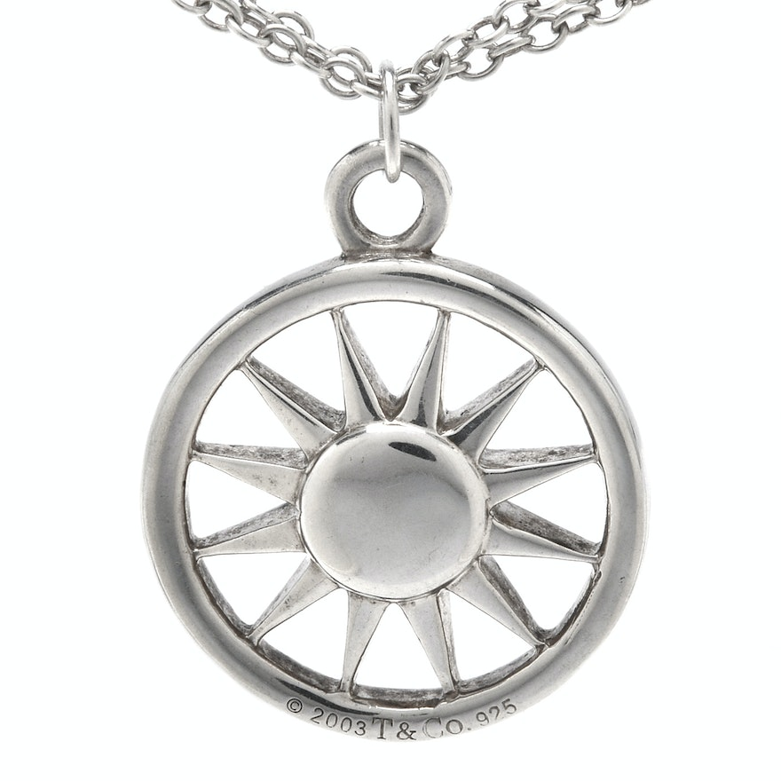 Tiffany co sterling silver sun pendant necklace ebth sterling silver sun pendant necklace mozeypictures Image collections