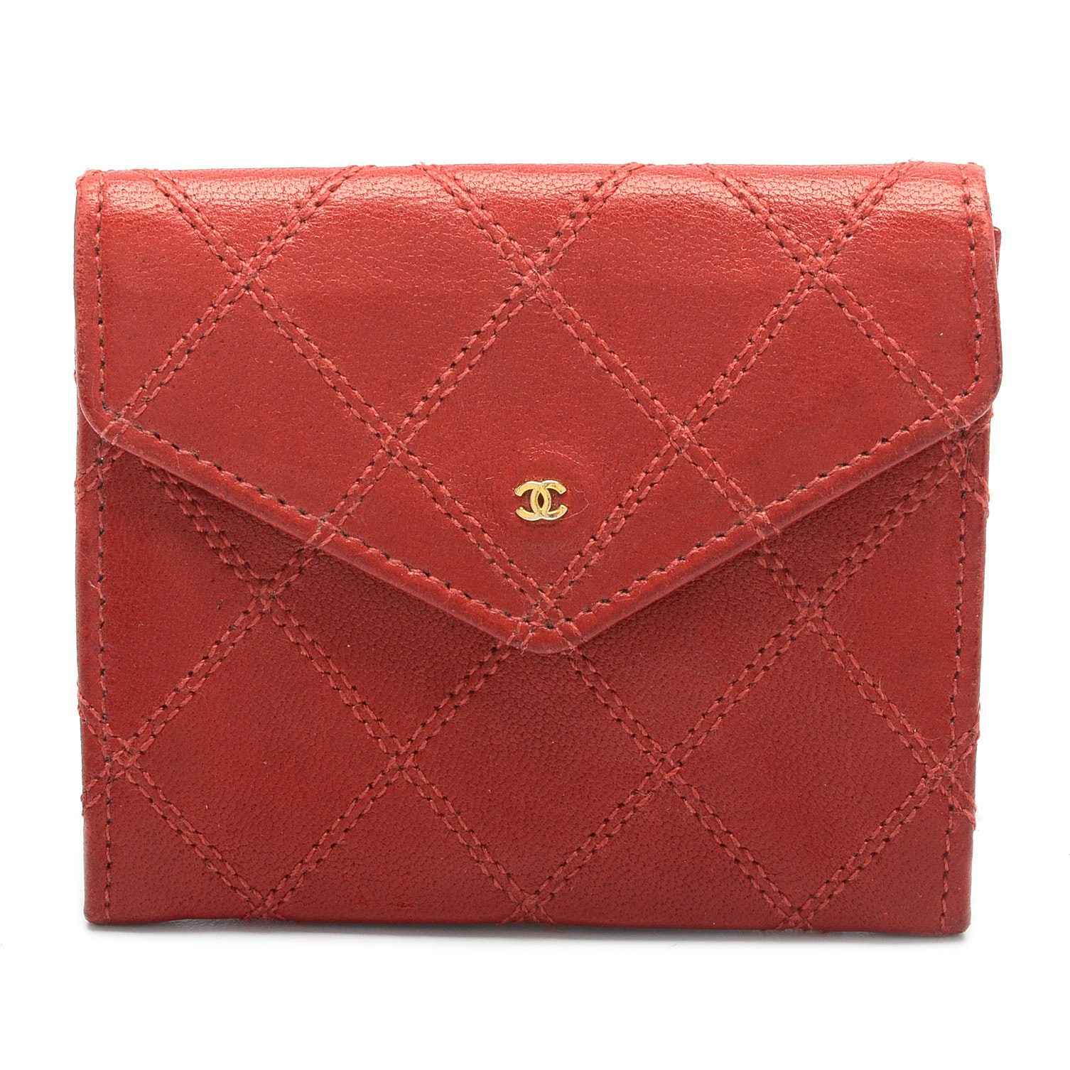 Vintage Chanel Matelasse Envelope Red Leather Wallet