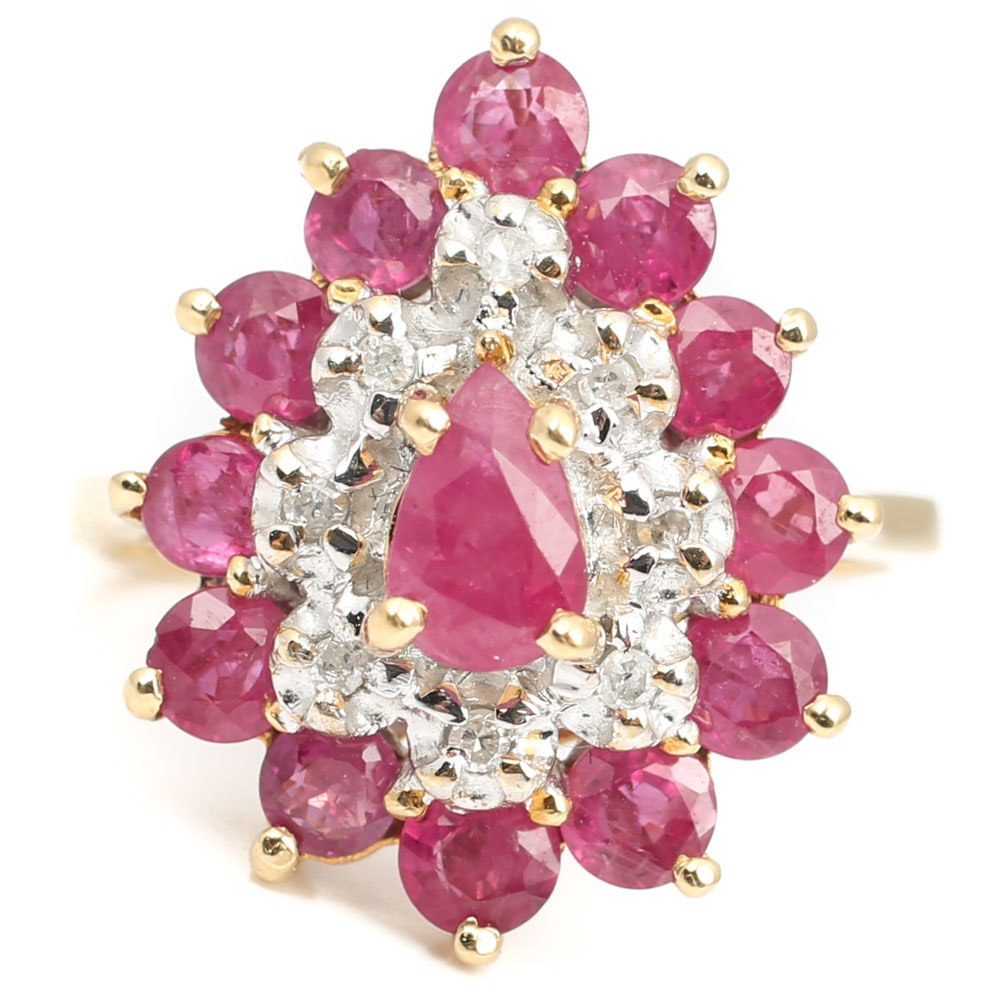 14K Yellow Gold 2.30 CTW Ruby and Diamond Cluster Ring