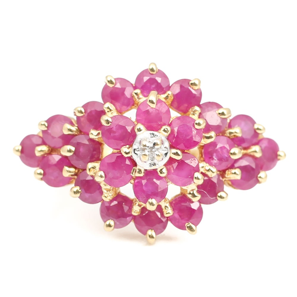 14K Yellow Gold 2.16 CTW Ruby and Diamond Ring