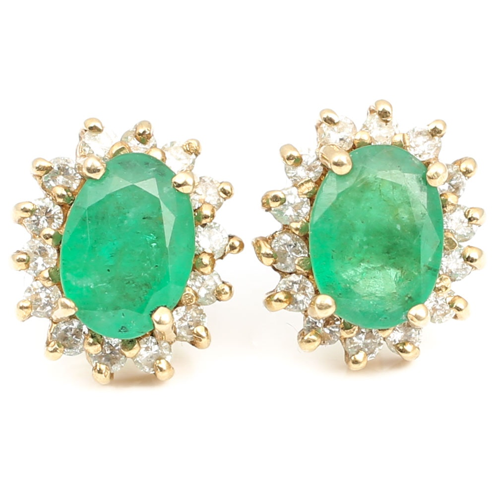 14K Yellow Gold 1.50 CTW Emerald and Diamond Earrings