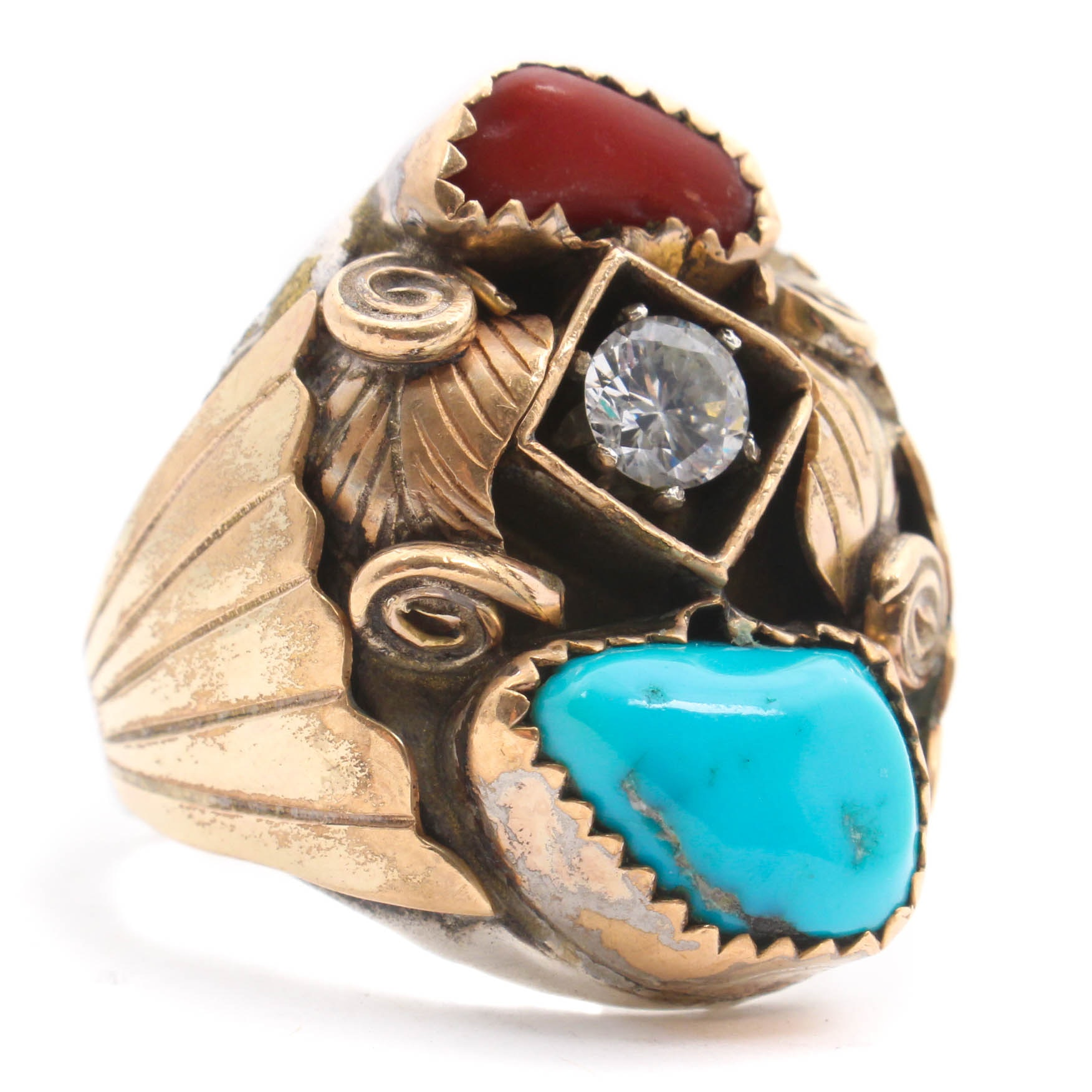 Gold Wash on Sterling Silver Cubic Zirconia, Coral, and Turquoise Ring