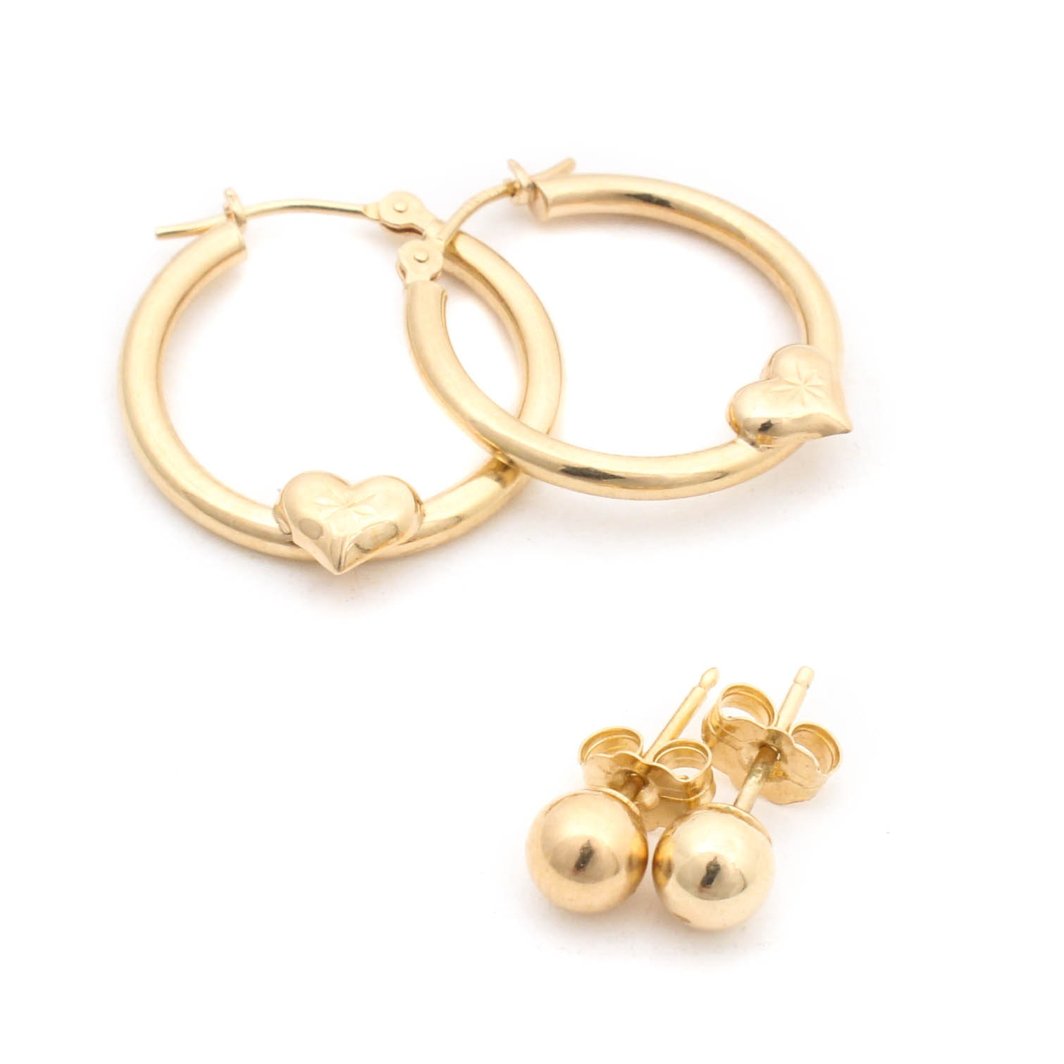 10K Yellow Gold Hoop Earrings and 14K Yellow Gold Ball Studs