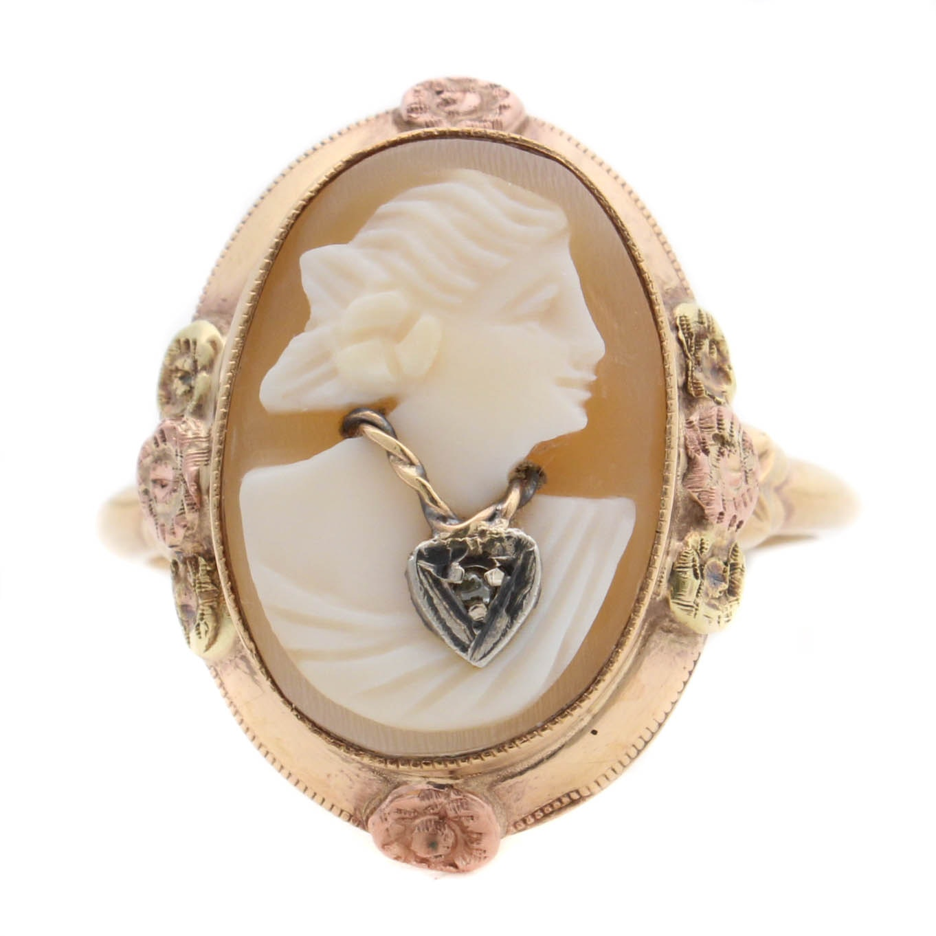 14K Yellow Gold Shell Cameo and Diamond Ring