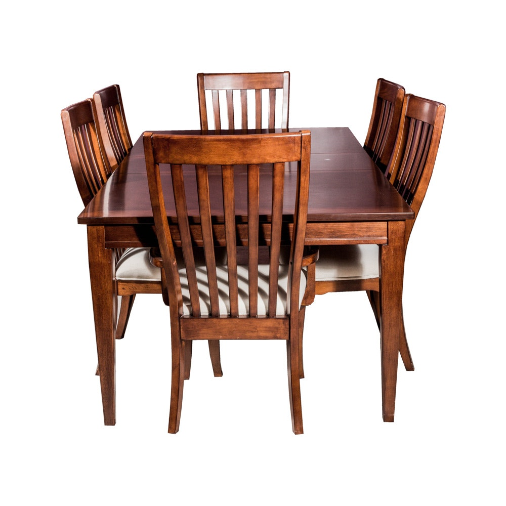 Traditional Style Walnut Dining Room Table with Six Chairs