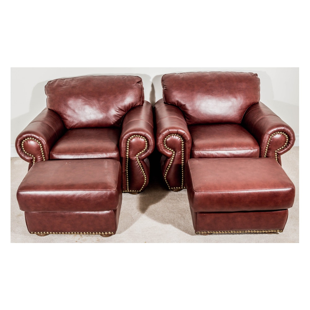 Pair of Red Faux Leather Chairs with Ottomans