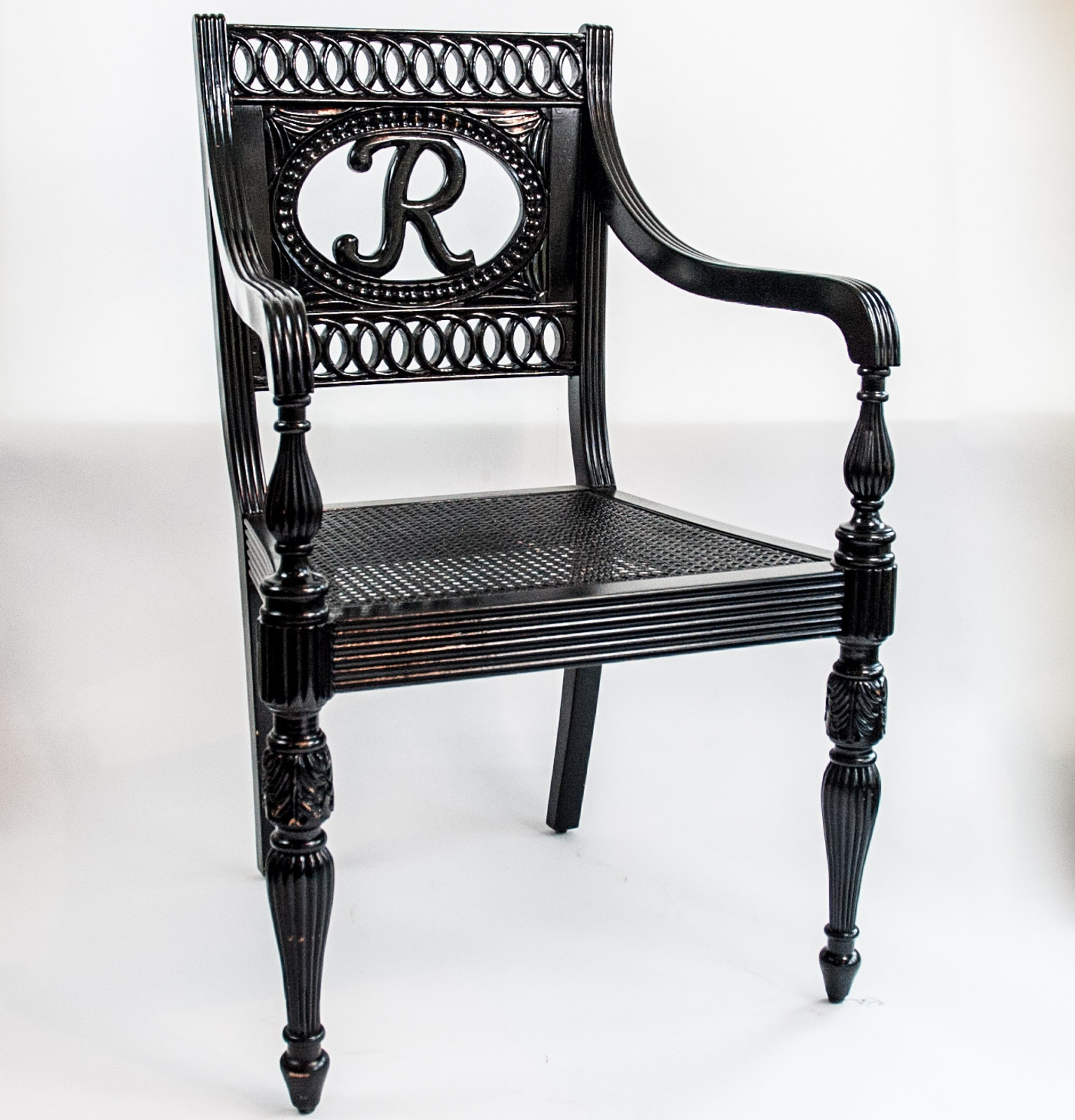 Black Regency Style Cane Seat Chair