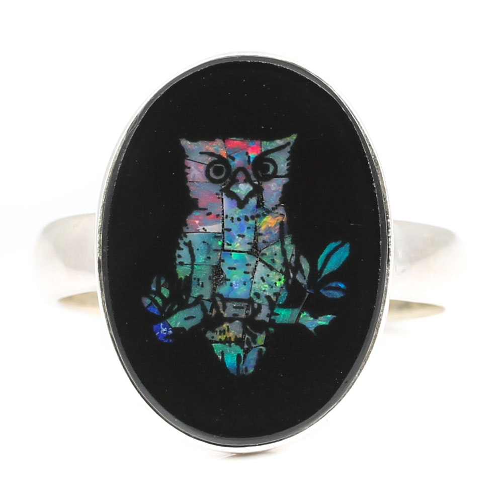 Sterling Silver Simulated Opal and Black Onyx Owl Ring
