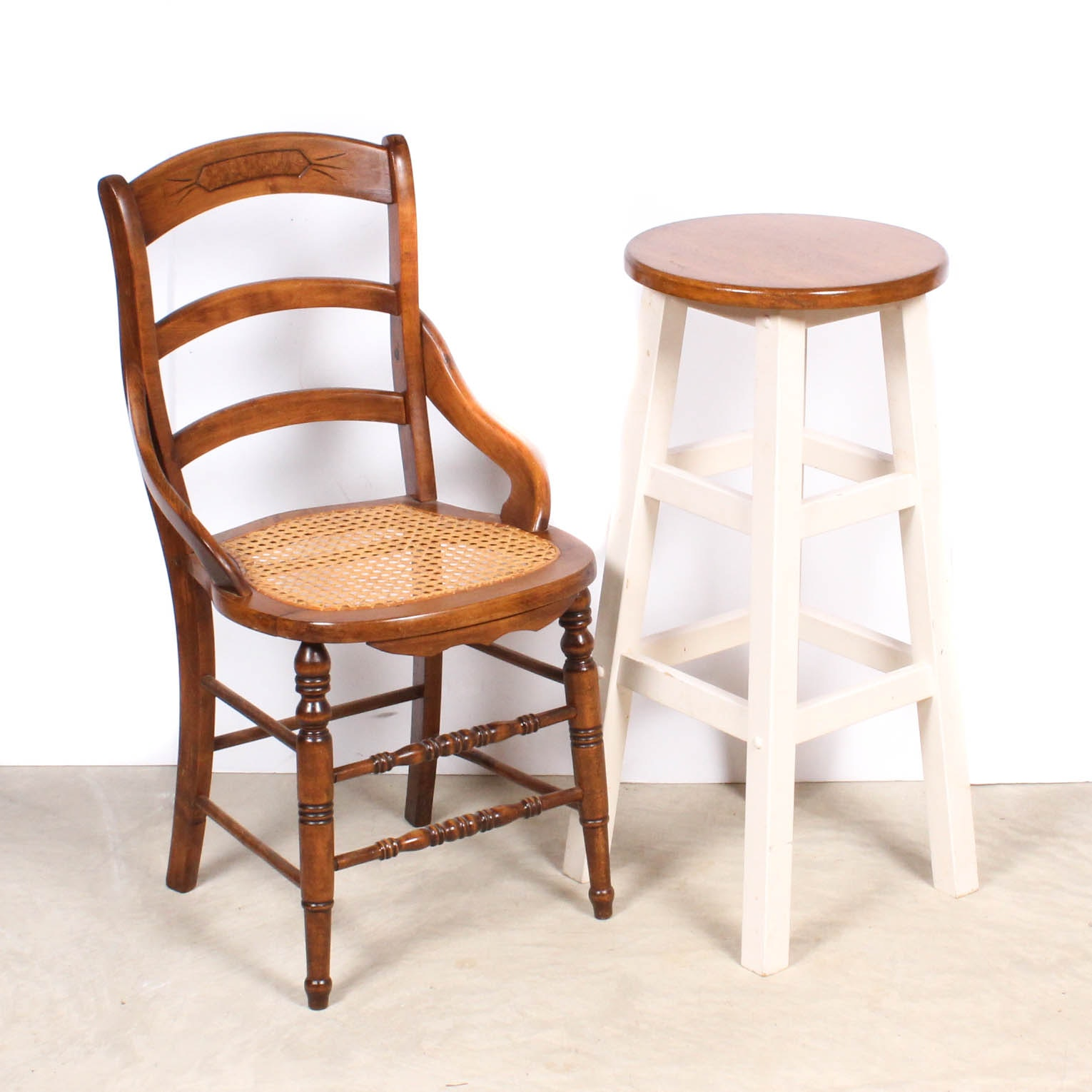 Caned Chair and Bar Stool