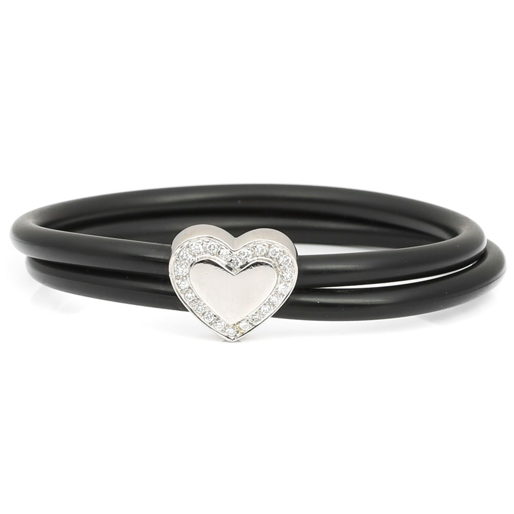Platinum and Rubber Bracelet with Diamond Accents