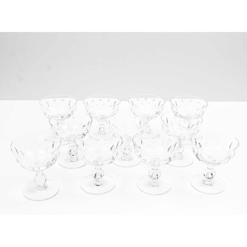 "Vintage Hawkes ""Othello"" Crystal Coupe Glasses"