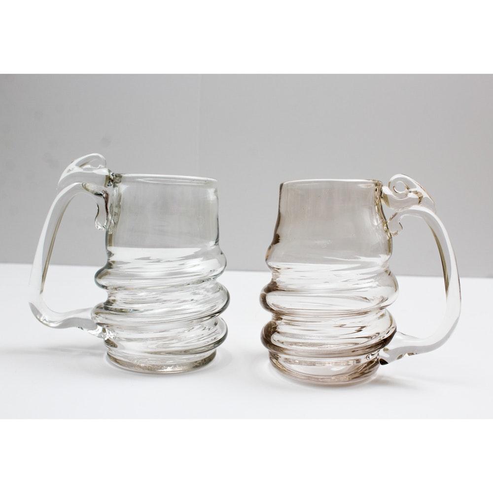 Lonsway Signed Hand Blown Art Glass Mugs