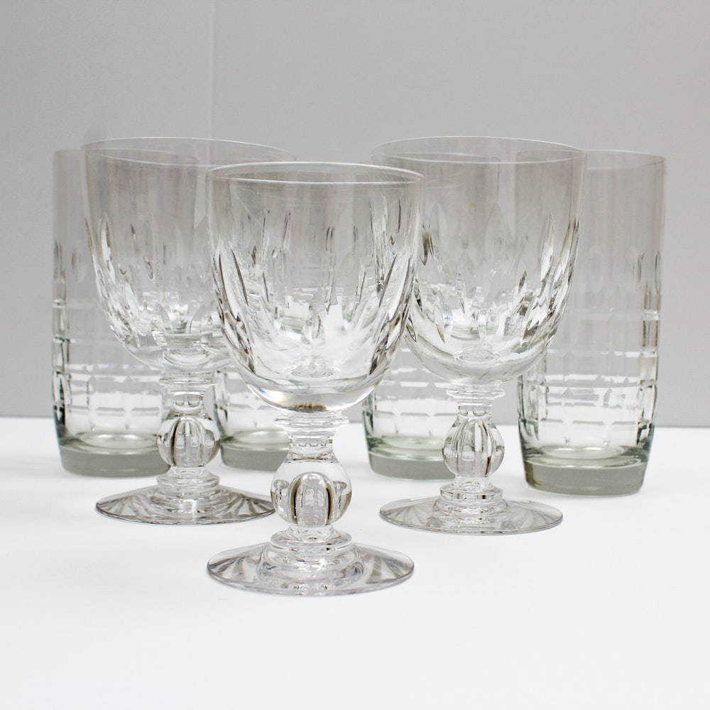 "Vintage Hawkes ""Othello"" Crystal Stemware and ""Vernay"" Highball Glasses"