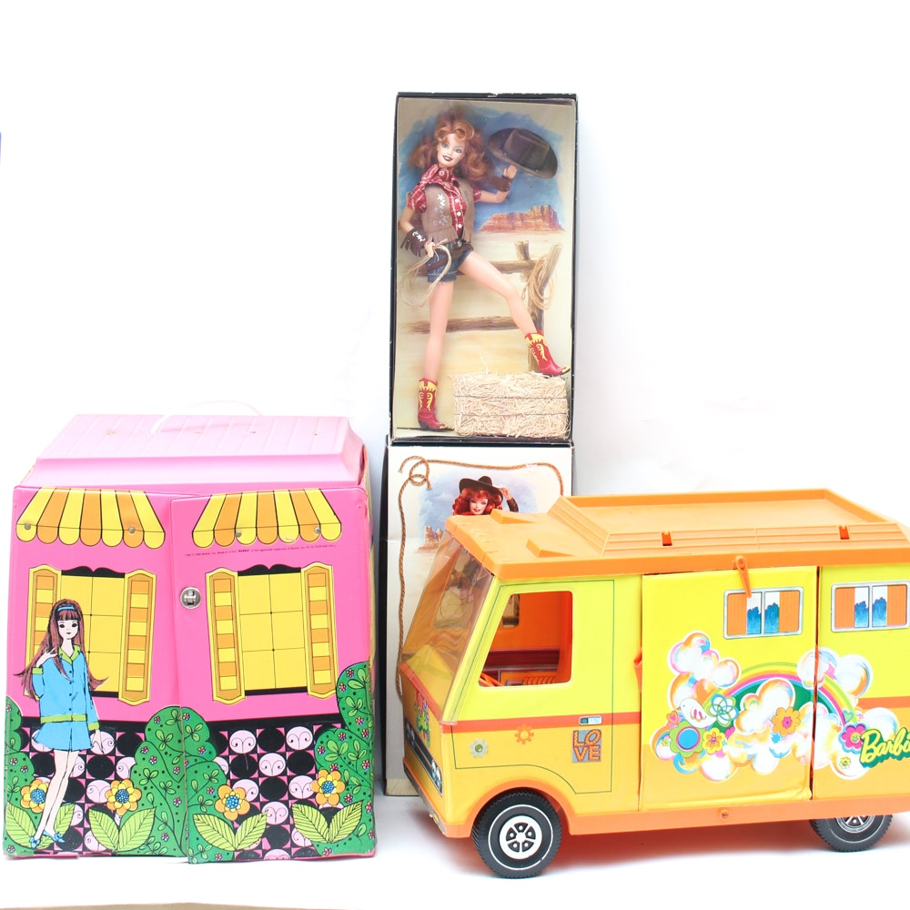 Vintage Barbie Home and Camper With Modern Pin-Up Barbie