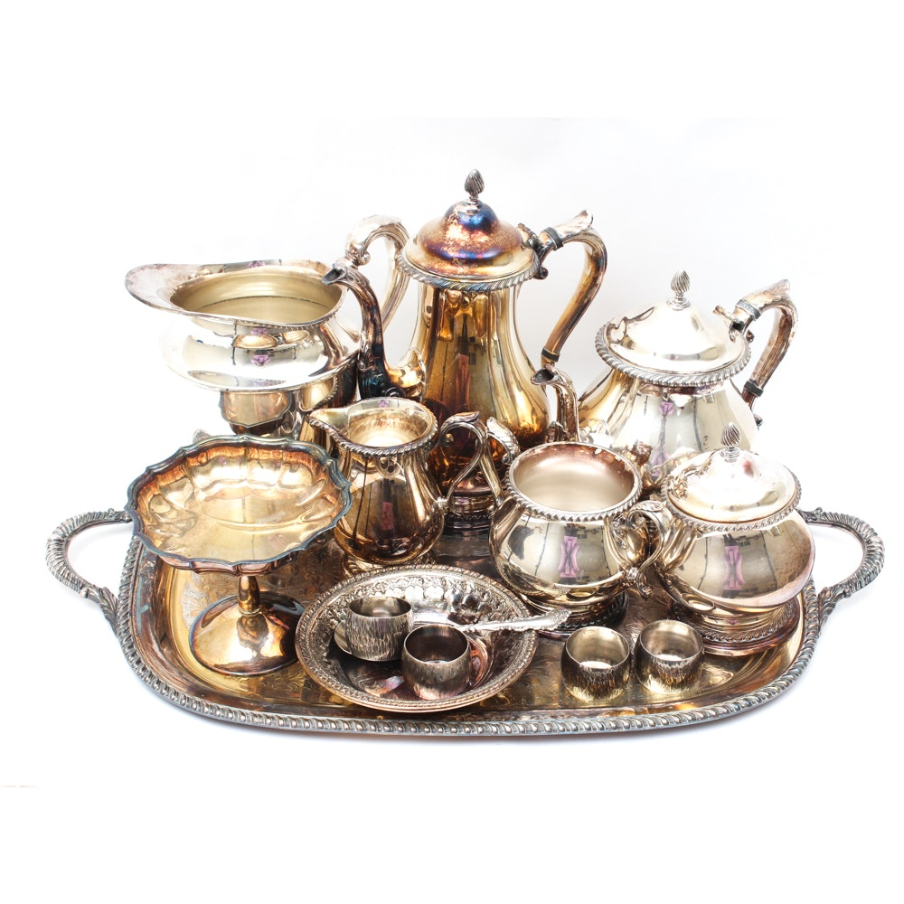 """Gorham """"Kenwood"""" Silver Plate Coffee and Tea Service and More"""