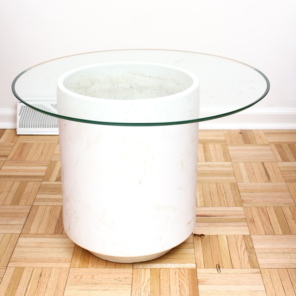 Gainy Ceramic Vessel Glass Topped Accent Table